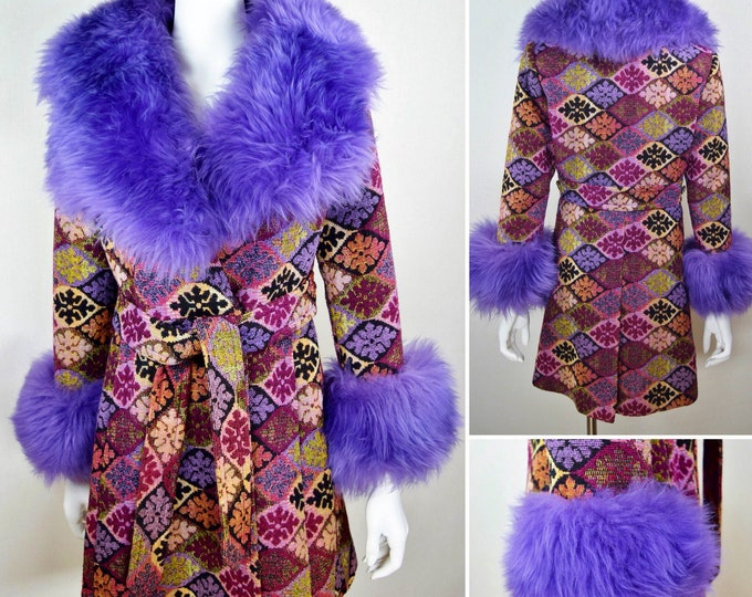 Featured listing image: Vintage 1960's SnowFlake Needle point TaPeStrY Purple Sheepskin SHEARLING Fur TriMMeD LuXury HiPPiE BoHo Coat M