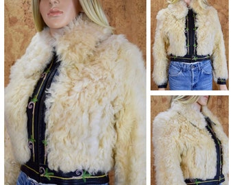 Vintage 1970's Women's Yaqub Shearling Shaggy Chubby Disco Fur Embroidered Leather Rock Star Hippie Boho Jacket Size S