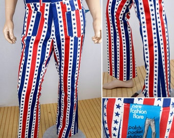 NOS Vintage 1960's 70's Mens 36x32 American Flag Stars Stripes Red White Blue Patriotic 4th of July RoCkStaR Bell Bottom Pants Jeans HiPPiE