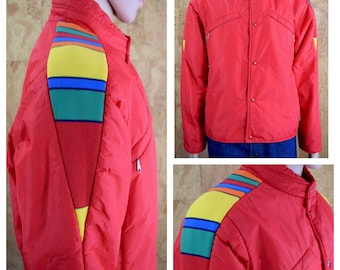 Vintage 1970's Men's JC Penney Towncraft Knit Striped Sleeved Color Blocked Puffer KELSO Ski Jacket Shell Coat Size L 46