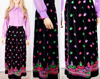 Vintage 1960's Malbe Original Couture PsYcHeDeLiC NeOn Embroidered VeLveT MoD MaXi HiPPiE Skirt Size S