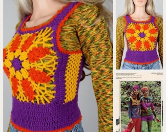 Vintage 1970's HiPPiE BoHo Crocheted Color Blocked colorful Woodstock FLoWeR Sweater Vest Size S
