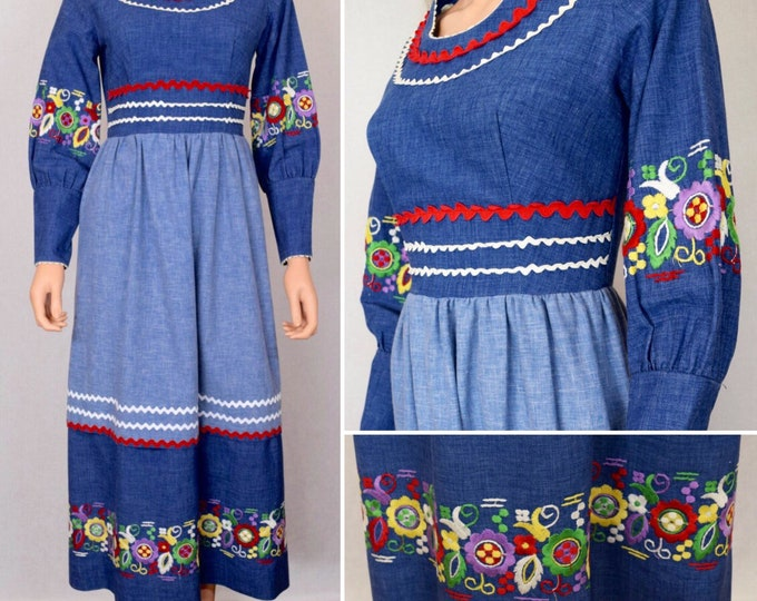 Featured listing image: Vintage 1960's 70's Vicky Vaughn Rainbow Embroidered Denim Ric Rac HiPPiE BoHo WooDsTocK Maxi Dress Size S M