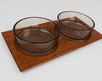 Vintage 1950's Mcm Danish Modern Karl Holmberg AB AKTA TEAK Wood Serving Tray Bowls Sweden