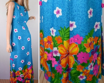 Nos Vintage 1960's SEARS NeOn Hibiscus FLoWeR HaWaiian Tropical Maxi Dress VLV S 8