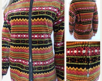 Vintage 1960's Women's VaL HuGheS VeLvet CheNiLLe Tapestry HiPPiE BoHo SKi Coat Jacket Size M