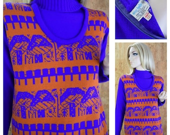Vintage 1970's Women's Miss Holly Mod MUSHROOM  Novelty Purple & Orange Hippie Knit Sweater Size M