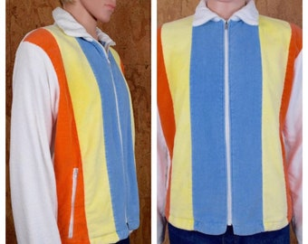 Vintage 1970's Men's JCPenny's Striped TeRRY CLoTH SuRfeR BeaCH CaBaNa Pool HIPPiE Hipster Jacket Size L 46
