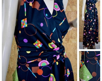 NWT - Vintage 1970's Jonathan Logan Women's Rainbow Neon Psychedelic Halter Disco Op Art Maxi Wrap Style Dress Size S 9 - Never Worn