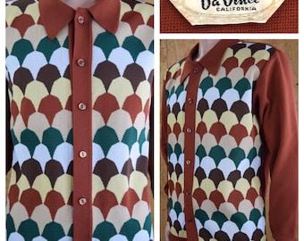 Vintage 1960's DaVinci Rat Pack Kramer MOD Knit Men's Shirt Hipster Size XL