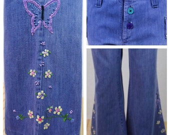 Vintage 1970's Women's CONTACT Embroidered Butterfly Flower HiPPiE Low Rise Hip Hugger Button Fly BeLL BoTToM Denim Jeans 32 x 31