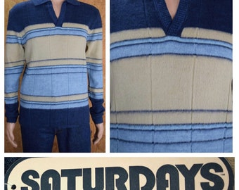 NWT - Vintage 1970's SHAG Saturday's in California Men's Striped Fuzzy Hippie Hipster Knit Sweater Size L