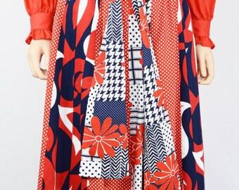 Vintage 60s 70s FLoWeR Power Maxi Skirt Op Art HiPPiE Festival BoHo PaTcHwOrK Pointed Handkerchief Hem Disco Red White Blue