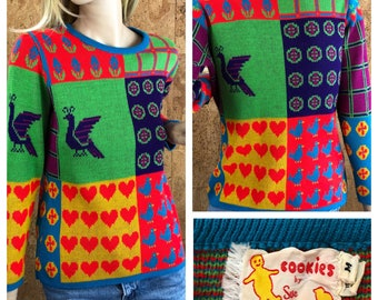 Vintage 1970's Women's Neon POP ART Heart Strawberry Peacock Flower Plaid Bird Hippie WHIMSICAL Knit Sweater Size S