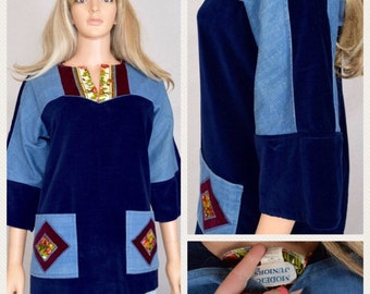 Vintage 1970's Women's Velvet Patchwork Tapestry & Denim HiPPiE BoHo Tunic Top Woodstock M