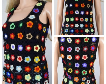 Vintage 1960's | 70's Crocheted Rainbow Flower HiPPiE BoHo Knit Shirt Vest Size S M