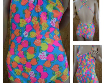 Vintage 1970's The Lilly Pulitzer Psychedelic Neon STRAWBERRY One Piece Mod Hippie Retro Swimsuit Size M