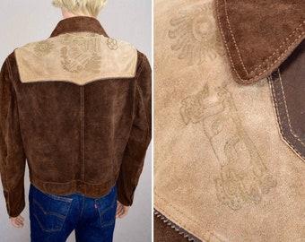 Vintage 1970's EL TORO BRAVO Men's Western Native Aztec Stamped Mexican Suede & Leather HiPPiE Rock Star Jacket Size S 42