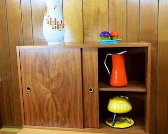 Vintage MCM 1950's Walnut Cabinet by Paul McCobb for Calvin Linear Adjustable Shelf