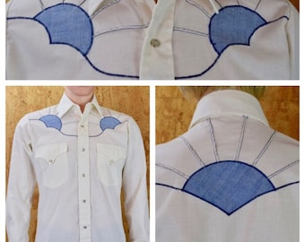 Vintage 1960's / 70's Appliqued Sunset Western Rockabilly HiPPiE Woostick Festival RoCk STaR Men's Shirt Size S 40