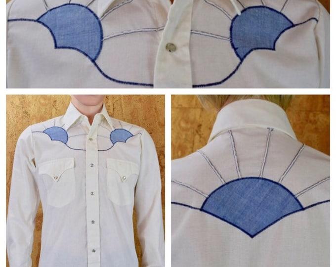 Featured listing image: Vintage 1960's / 70's Appliqued Sunset Western Rockabilly HiPPiE Woostick Festival RoCk STaR Men's Shirt Size S 40