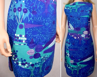 Vintage 1960's Women's PsYcHeDeLiC MoD HIPPIE Op ART Hawaiian MCM Atomic Peacock Sun Dress Size S M 10