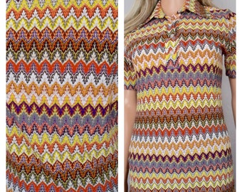 Vintage 1970's Women's FLAME KNIT MuLti-CoLoR HiPPiE MOD Knit Shirt Top Blouse M