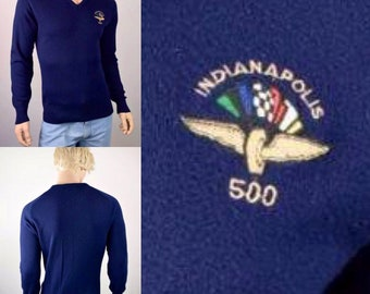 Vintage 1980's INDY Indianapolis 500 Speedway Racing Logo 7 Sweater shirt Men's M L