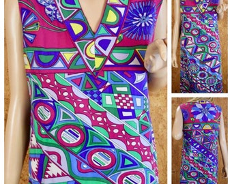 Vintage 1960's EMILIO PUCCI Mod Optic Op Art Psychedelic Knit Silk Dress M 12