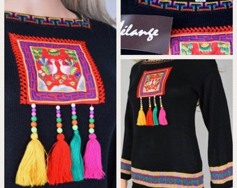 Nos Vintage 1970's Melange Embroidered Bird Beaded Tasseled Knit HiPPiE BoHo Tunic Sweater Size S M