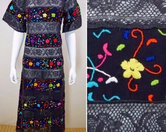 Vintage 1960's Mexican Rainbow EmBroiDereD Sheer CrocHeted LaCe Ethnic Hippie BoHo Cover Up or MaXi Dress Size M L