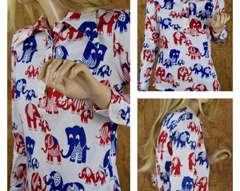 Vintage 1960's | 70's Women's MOD Novelty Cartoon ELEPHANT Cotton Knit Huge Butterfly Collared Shirt Top Size M
