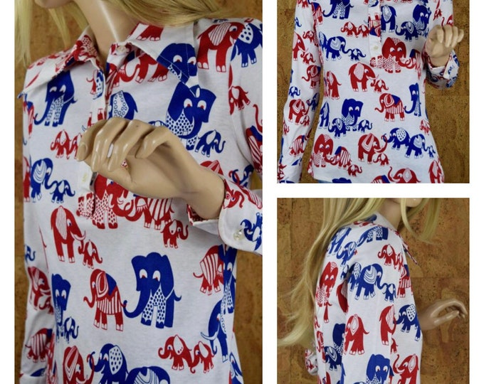 Featured listing image: Vintage 1960's | 70's Women's MOD Novelty Cartoon ELEPHANT Cotton Knit Huge Butterfly Collared Shirt Top Size M