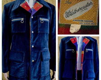 SOLD - Reserved for T. - Vintage 1960's | 70's Men's The Weathercaster MOD Navy Blue Velvet & Plaid Wool Hipster Hippie Coat Size L 44
