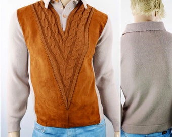 Vintage 1950's Men's Milwaukee Knit Suede Leather HiPsTeR Rat Pack AToMiC Era Mod Beatnik Sweater S