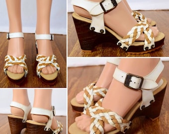 Size 6 M - Nos Vintage 1970's Women's White Leather Wooden Disco Platform HiPPiE BoHo Braided Wedged Spring Summer Shoes Sandals