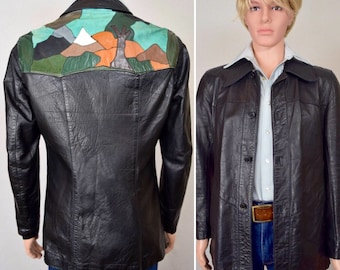Vintage 1970's Seigfried of Spain Men's Patchwork Tree Mountain Leather Yoked Western HiPPiE HiPsTeR Rock Star Jacket Size S
