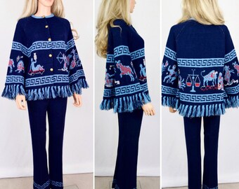 Vintage 2 Piece 1970's Women's ZoDiaC AsTroLoGY HiPPiE BoHo AsTrOloGicaL Knit Sweater & Pants Rock Star Outfit Size S M - RARE