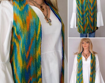 Sale - Vintage 1960's 70's Women's CheniLLe Chevron Zig Zag Needlepoint CheniLLe CaRpEt TaPeStrY HiPPiE Mod Vest S M
