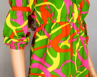 Vintage 1960's NeOn Go-Go  PsYcHeDeLiC Op Art Beach Cover Up Mod Mini Dress Size M