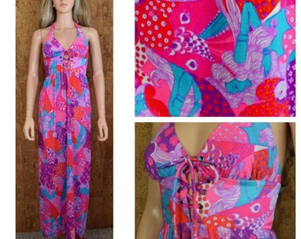 Vintage 1960's Women's PsYcHeDeLiC Neon Ladies Lady Patterned Pop Art Laced Go-Go MoD HiPPiE Hawaiian Beach Pool Sexy Halter Dress Size XS