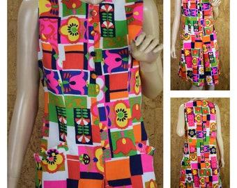 Vintage 1960's Janet Lynn MOD NEON Op Art Go-Go Flower Heart Psychedelic Hippie Laugh-In Cotton Sun Dress Size M L 14