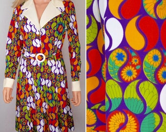 Vintage 1960's Women's MOD Psychedelic POP Op Art  Go-Go Party Dress Size L