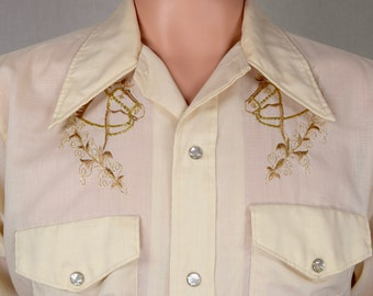 Vintage 1970's Men's Gold Embroidered Horse Western HiPPiE HiPsTeR RoCk STaR Shirt Size L 46