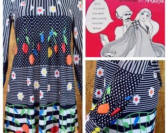 Vintage 1960's | 70's Young Innocent Rainbow Cherry Striped Diamond Daisy Flower Tie Back Babydoll HiPPiE MOD Women's MiNi Dress Size XS