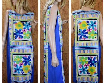 Vintage 1960's Andrade Daisy Flower Power Striped MOD HiPPiE Hawaiian Beach Pool  Resort Wear Cover Up Dress Size M