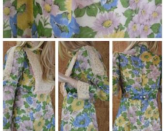 Vintage 1960's Poppy & Daisy Floral Lace Bibbed Edwardian Mod Hippie Prairie Maxi Dress S M
