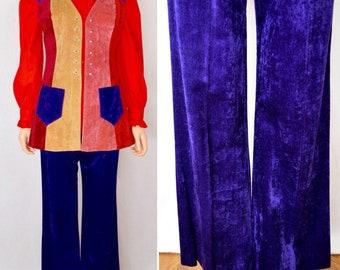 Vintage 1960's Women's 2 Piece Jimi Hendrix MOD Hippie Velvet Patchwork Vest Bell Bottom Pant Suit Size 9 S