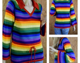 Vintage 1970's Women's Rainbow Striped Bell Sleeved Knit Tunic Hippie Sweater Size S / M