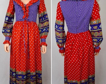 Vintage 1960's 70's Charm of Hollywood Women's Polka Dot Peasant Laced Prairie HiPPiE GYPSY BoHo Festival Dress Size M